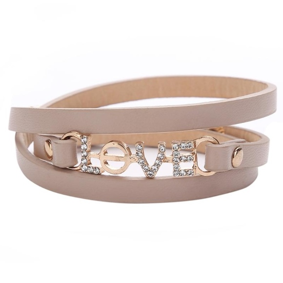 Jewelry - Love Charm Tan Khaki Layered Leather Wrap Bracelet